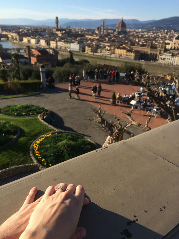 The gorgeous view from Piazzale Michelangelo, accented by my new engagement ring!